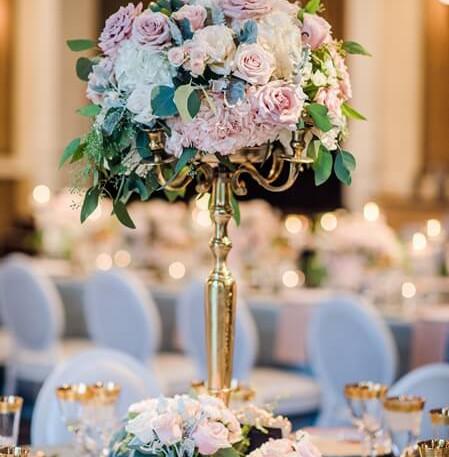 #29 Rental Gold brass Candelabra And Floral Centrepiece
