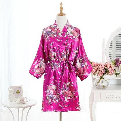Cherry Floral Silk Satin Bridal Robe
