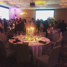 #15 Rental Clear Pestal With Low Gold Brass Candelabra And Tapered Candles