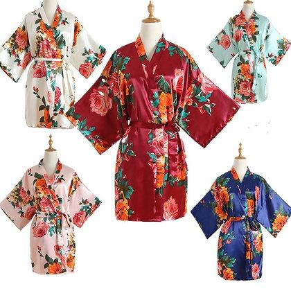 Navy Blue Silk Satin Bridal Robe