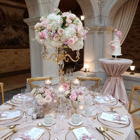 #17 Rental Tall Crystal Gold Candelabra And Floral Centrepiece