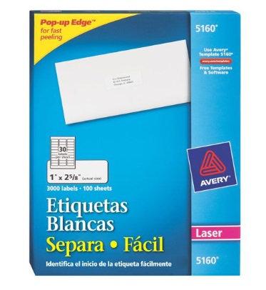 Etiquetas blancas 1 x2 5/8 92296-A
