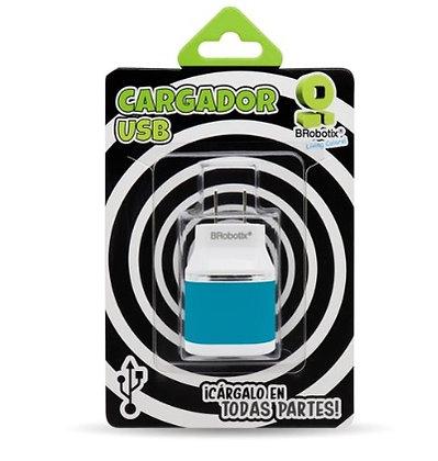 CARGADOR USB DUAL PARA PARED AZUL