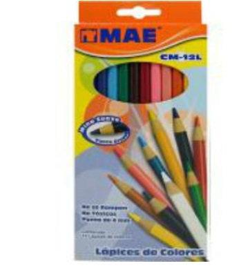 Lápices de colores largos caja c/12 p