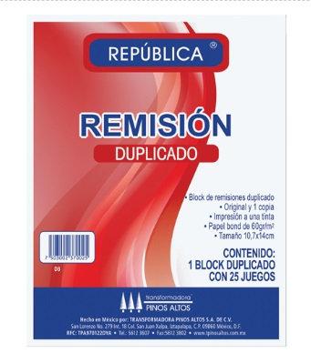 BLOCK DE REMISIONES DUPLICADO 1/8