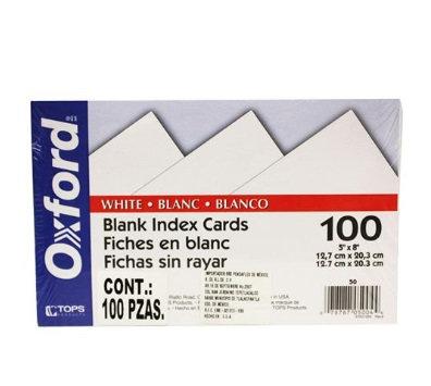 Tarjeta Indice Blanca 12x7x20.3 cm