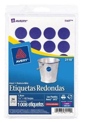 """Etiqueta Redonda Azul de 3/4""""(1.9 cm)"""