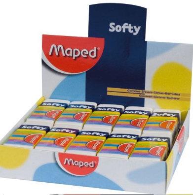 Goma Softy Caja con 20 piezas.