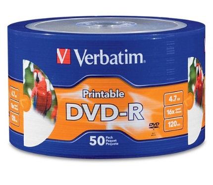 Disco DVD-R 16X 4.7GB Paquete con 50 pie