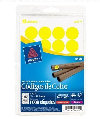 Etiqueta Redonda Amarillo de 3 4