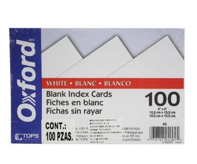 LM-Tarjeta indice blanca 4x6 Paq. 100