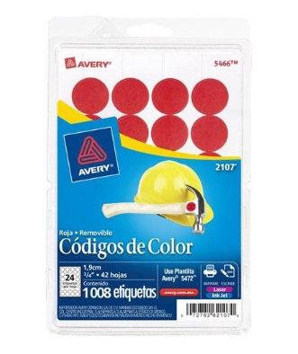 Etiqueta Removible Circular color ROJ