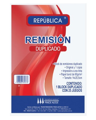 BLOCK DE REMISIONES DUPLICADO 1/2