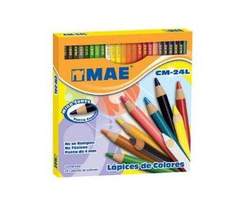Lapices de colores largos caja c/24 p