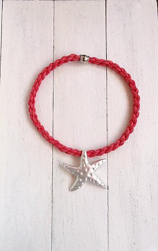 Gargantilla Estrella Plateada Cordón Coral