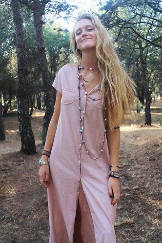 Vestido largo rosa algodón