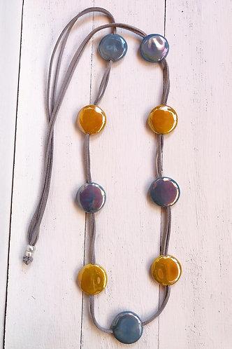 Collar Fiji Bicolor Gris y Mostaza