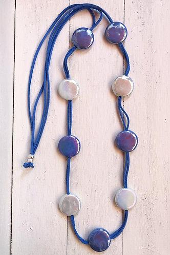 Collar Fiji Bicolor Azul y Blanco