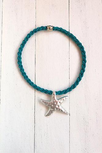 Gargantilla Estrella Plateada Cordón Agua Marina