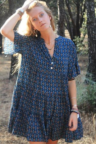 Vestido corto azul estampado