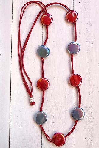 Collar Fiji Bicolor Rojo y Gris