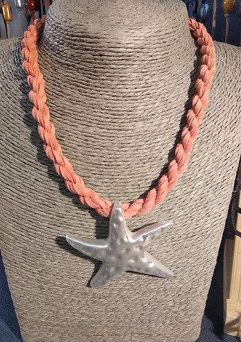 Gargantilla estrella cordón salmón