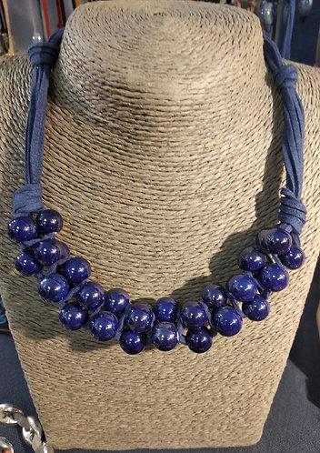 Gargantilla bolas cerámica esmaltada  azul