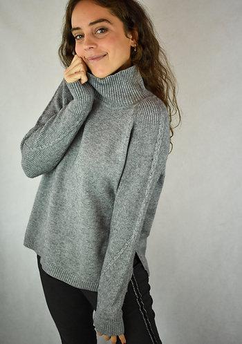 Jersey medio cuello gris