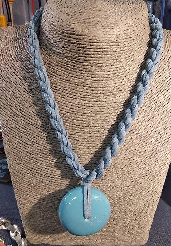 Gargantilla cordón turquesa resina turquesa