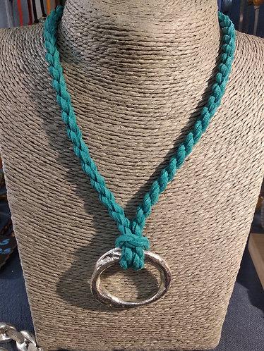 Gargantilla aro cordón verde agua