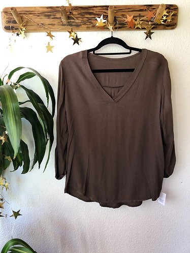 Blusa manga larga marrón