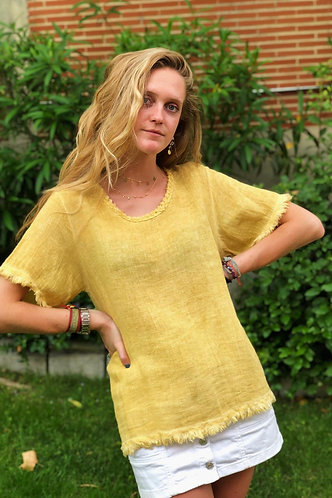 Camiseta mostaza lino