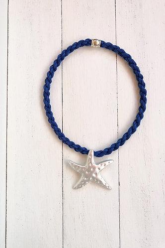 Gargantilla Estrella Plateada Cordón Azul Marino