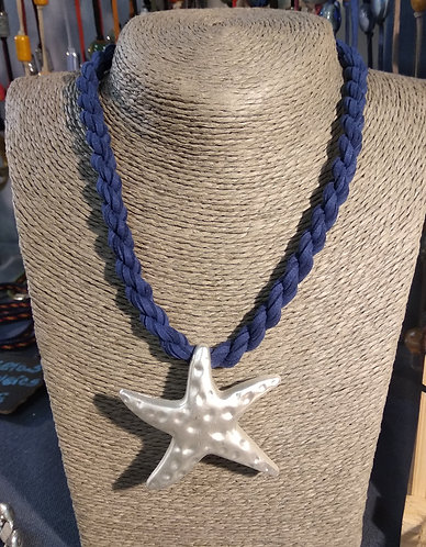 Gargantilla cordón azul estrella blanca