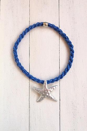 Gargantilla Estrella Plateada Cordón Azul