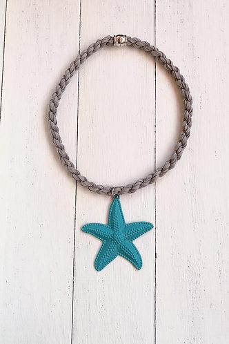 Gargantilla Estrella Azul Turquesa Cordón Gris