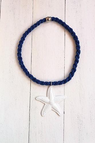 Gargantilla Estrella Blanca Cordón Azul Marino
