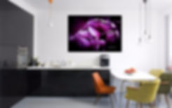 Ruffled Edge Tulips Canvas Print displayed in a modern home.