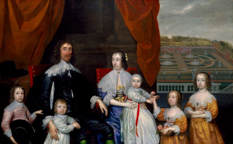 Portrait of Mary Somerset with the The Capel Family with a garden in the background by Cornelius Johnson.