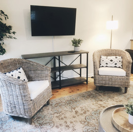 Large TV and seating area