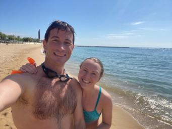 Hamish and Pippa in Barcelona swam 5km