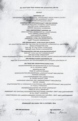 Urkunde zur Grundsteinlegung