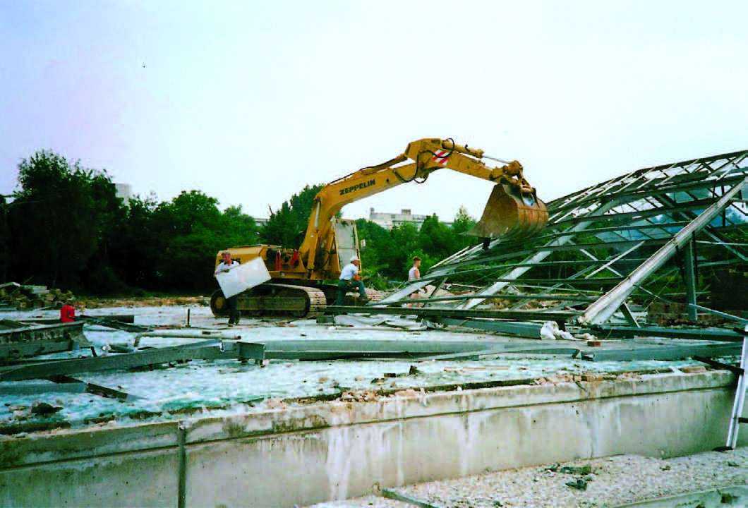 Abriss des alten Gewächshauses, 1987