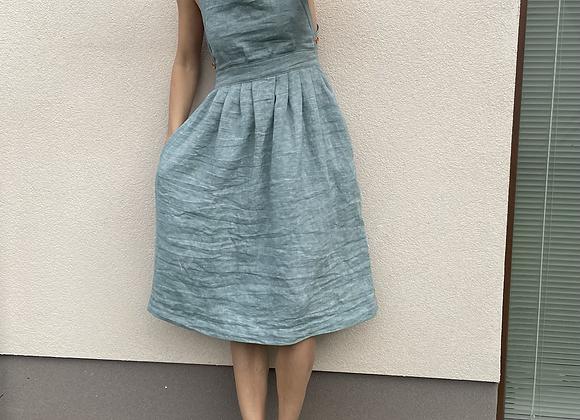 lněné šaty s volnými zády - ZELENÉ, vel. 36 (S)