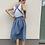 Thumbnail: lněné šaty s volnými zády - MODRÉ, vel. 36 (S)