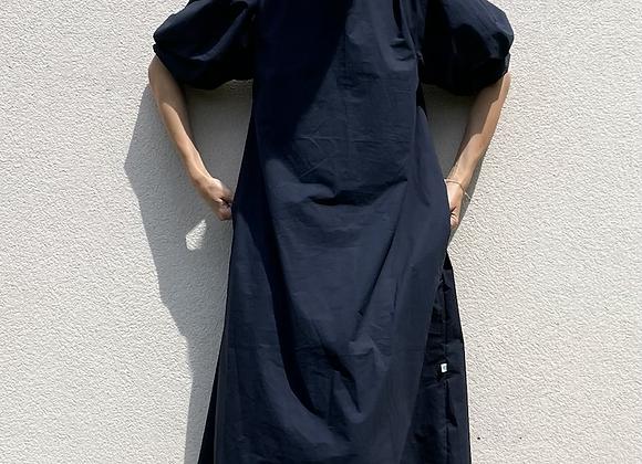 Oversize šaty s nabíranými rukávy - TMAVĚ MODRÉ, vel. S-M
