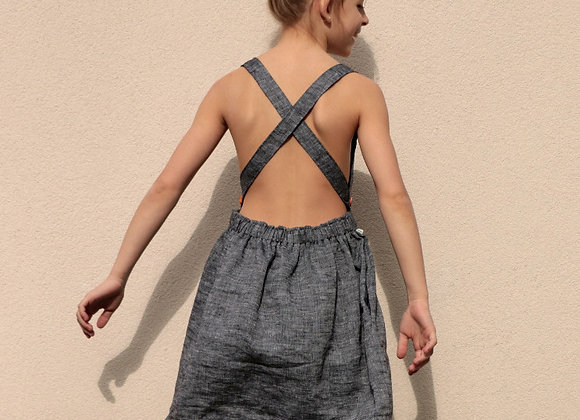 DĚTSKÉ lněné šaty s volnými zády - ŠEDÉ, vel.134 a dále