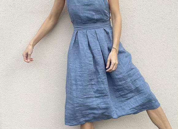 lněné šaty s volnými zády - MODRÉ, vel. 38 (M)