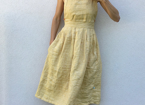lněné šaty s volnými zády - ŽLUTÉ, vel. 38 (M)