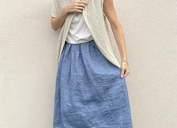 Lněná sukně  - MODRÁ - vel. 38 (M)